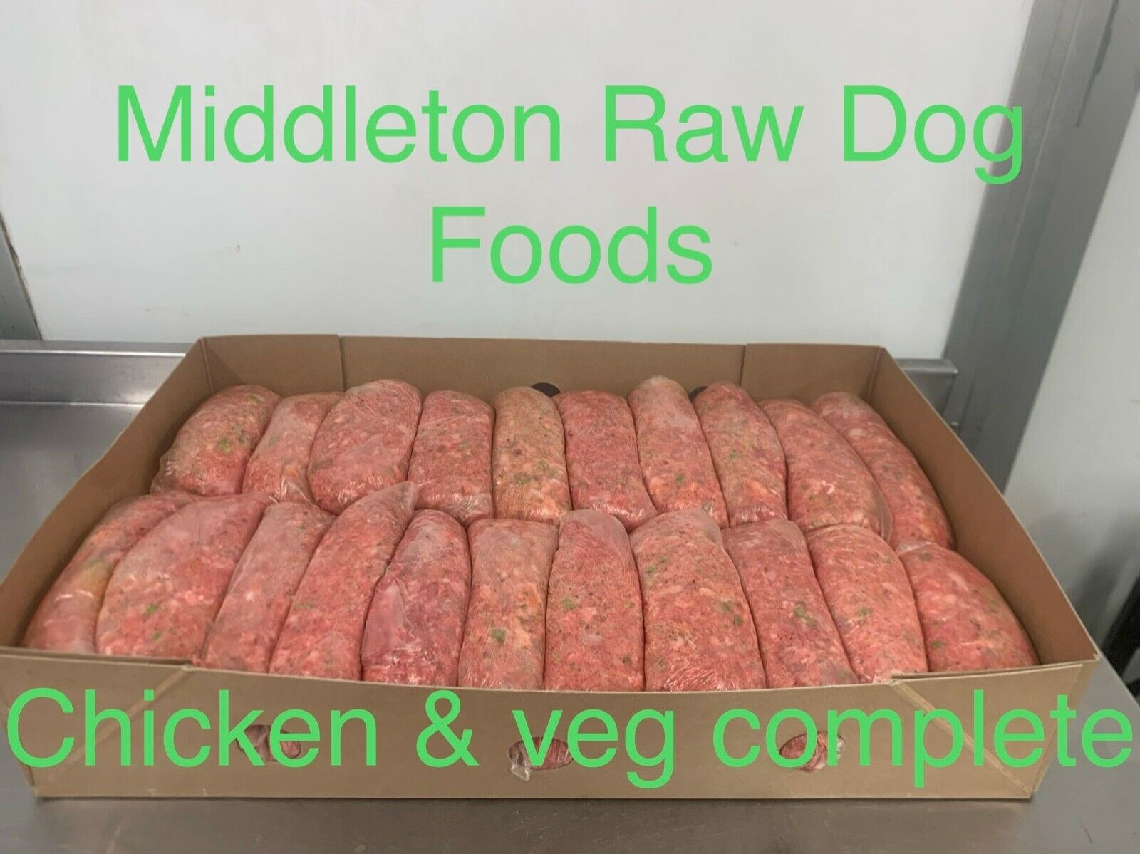 Dog Food Frozen Chicken & veg complete meal 32x500g bags 16kg box BARF RAW DIET