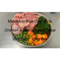 Dog Food Frozen Chicken & veg complete meal 20x500g bags 10kg box BARF RAW DIET